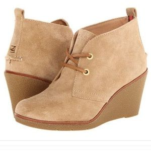 Sperry Harlow Suede Wedge Booties Sand Size 9